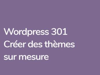 Créer des thèmes Wordpress sur mesure formation avec Grégoire Noyelle